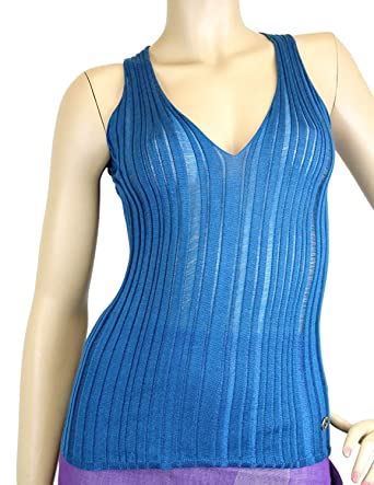 1cb5f333c365cb Image Unavailable. Image not available for. Color  Gucci Women s Blue Cashmere  Silk Tank Top ...