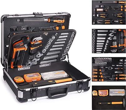 TACKLIFE Cajas de Herramientas de Aluminio,136Pcs Multifuncional Juego de Herramientas de Mano,Juego de Destornilladores de Precisión, Martillo, Alicates-HHK4B: Amazon.es: Bricolaje y herramientas