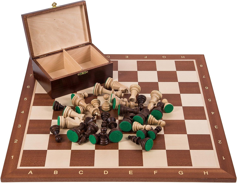 Square - Profesional Ajedrez de Madera Nº 5 - Caoba - Tablero de ajedrez + Figuras - Staunton 5: Amazon.es: Juguetes y juegos