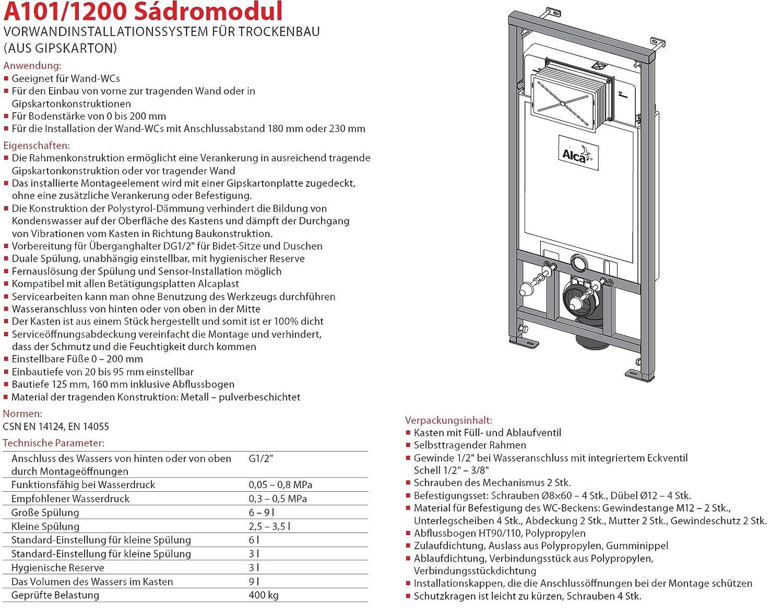 WC Vorwandelement für Trockenbau Unterputzspülkasten Spülkasten Wand ...
