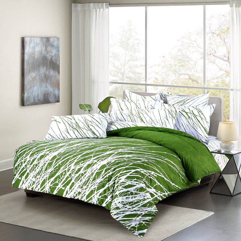 3-Piece 100% Cotton Bedding Set: Duvet Cover Green White, Queen