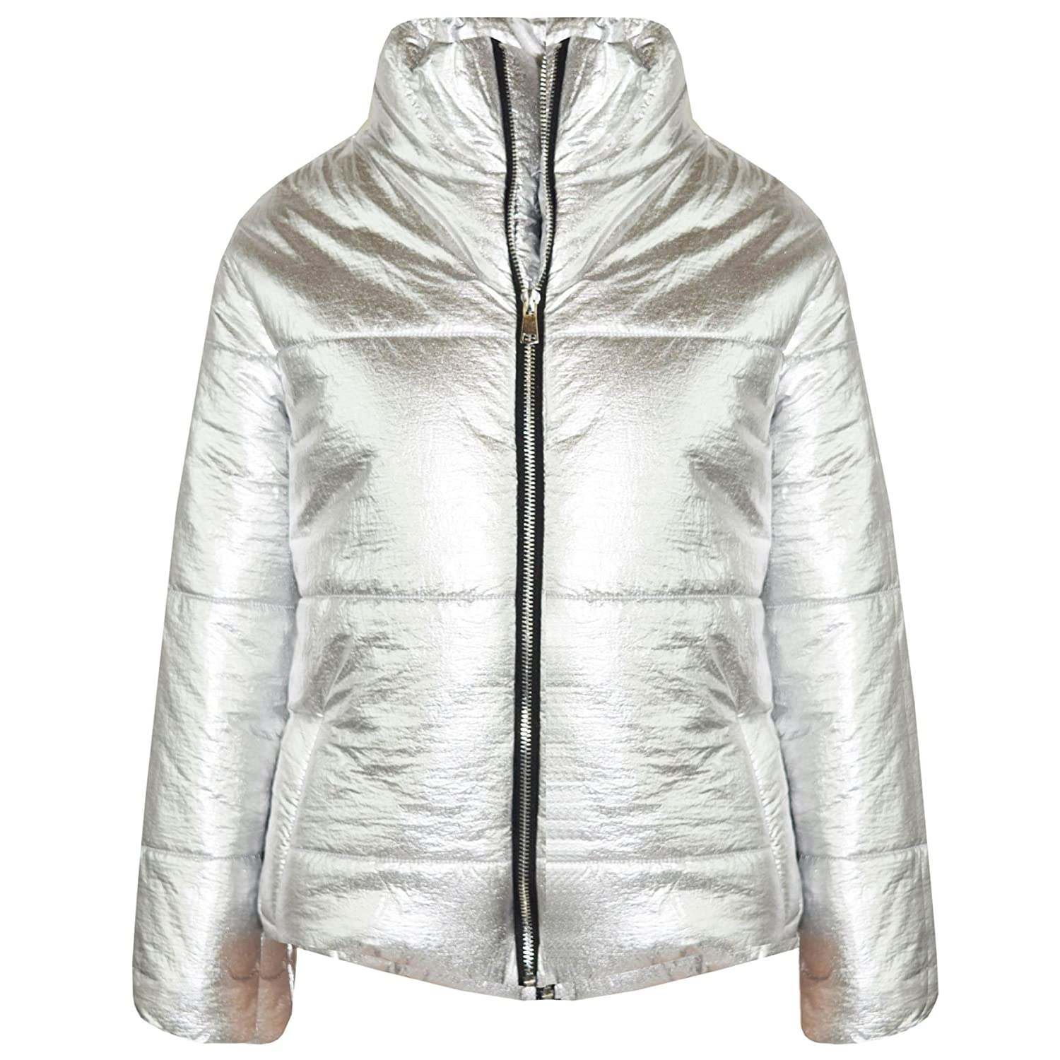 A2Z 4 Kids/® Girls Jacket Kids Metallic Foil Cropped Padded Quilted Puffer Jackets Coats 5-13