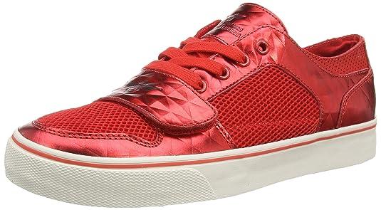 Creative Recreation Cesario Lo XVI - Zapatillas de sintético Hombre, Color Rojo - Red (Red Mesh/Brown Diamond), Talla 45.5