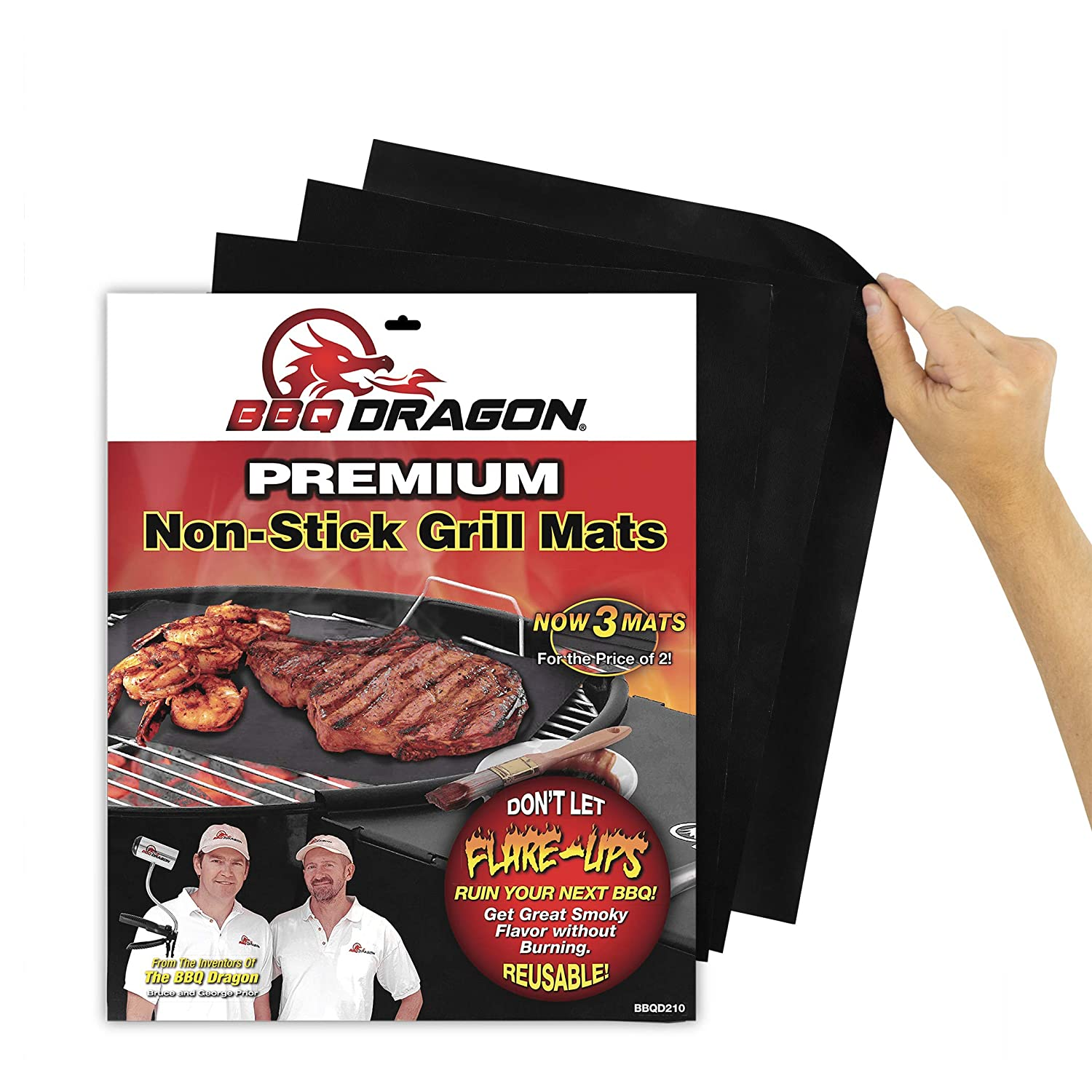 BBQ Dragon Grill Mats Set of 3, Black, Heavy Duty Large Reusable, Grill Pans Non Stick, Charcoal BBQ, Barbecue Grilling and Baking Accessories for Grilling, Easy Clean