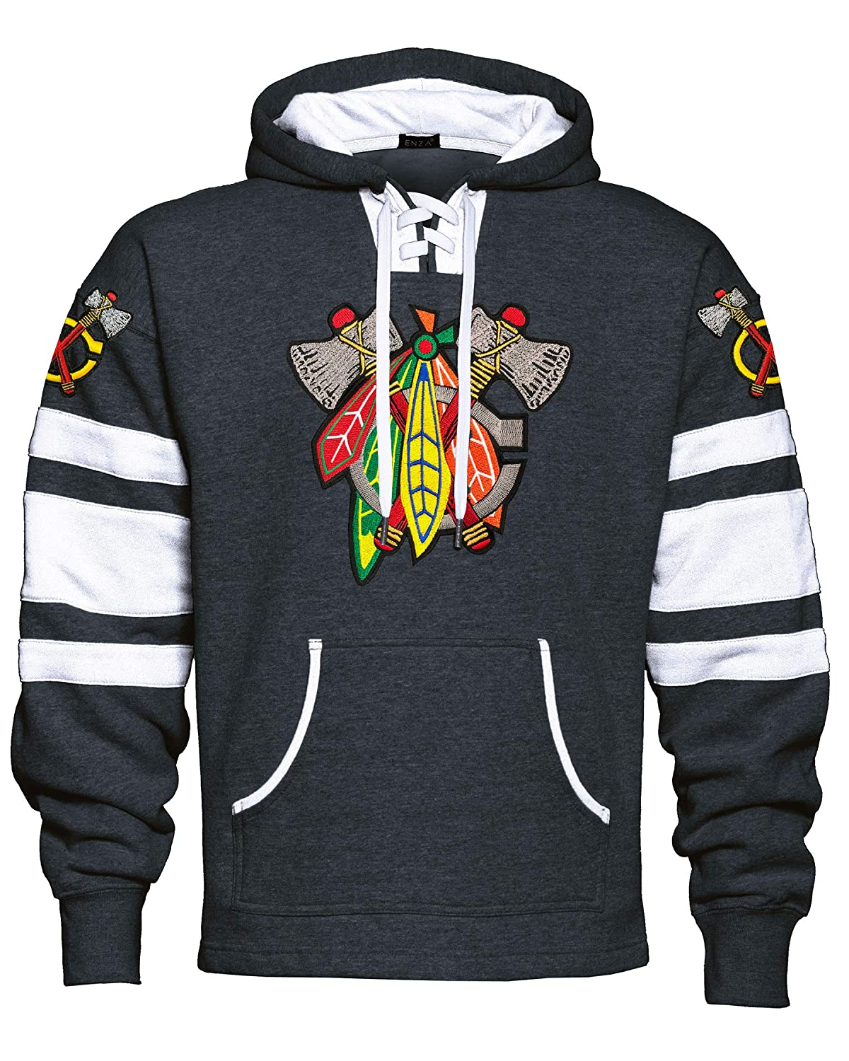Fear The Feathers Graphite//White Game Day Blackhawk Hockey Hoodie