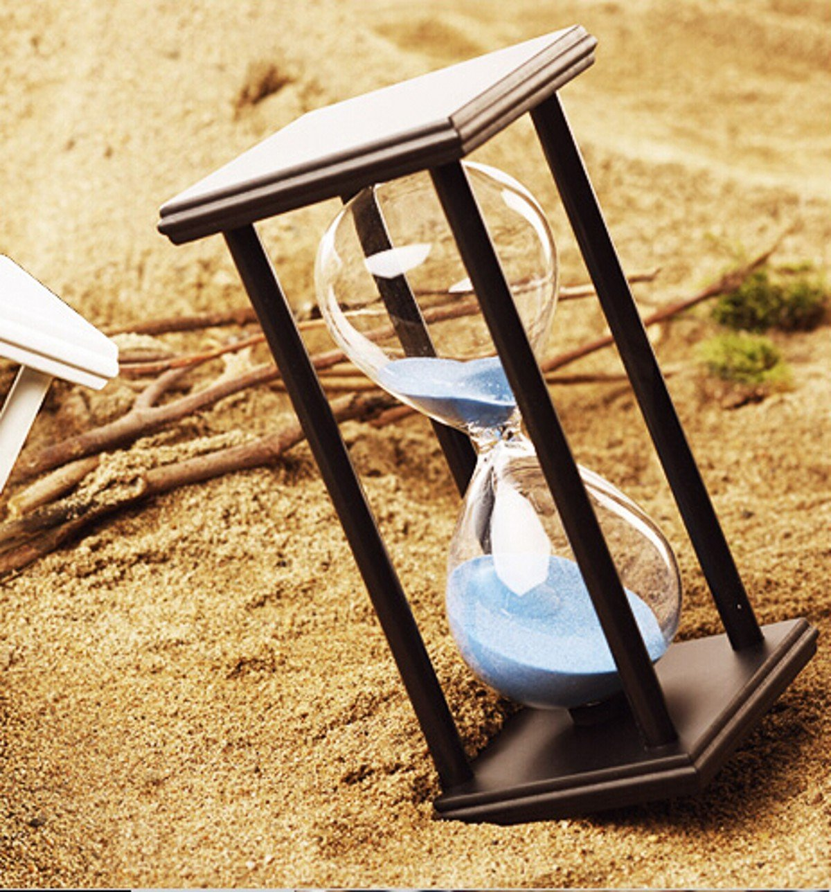 Hourglass Sand Timer - 60 Minute 1 Hour Wood Sand Timer for Kitchen, Office, School and Decorative Use - Black Stand With Blue Color Sand