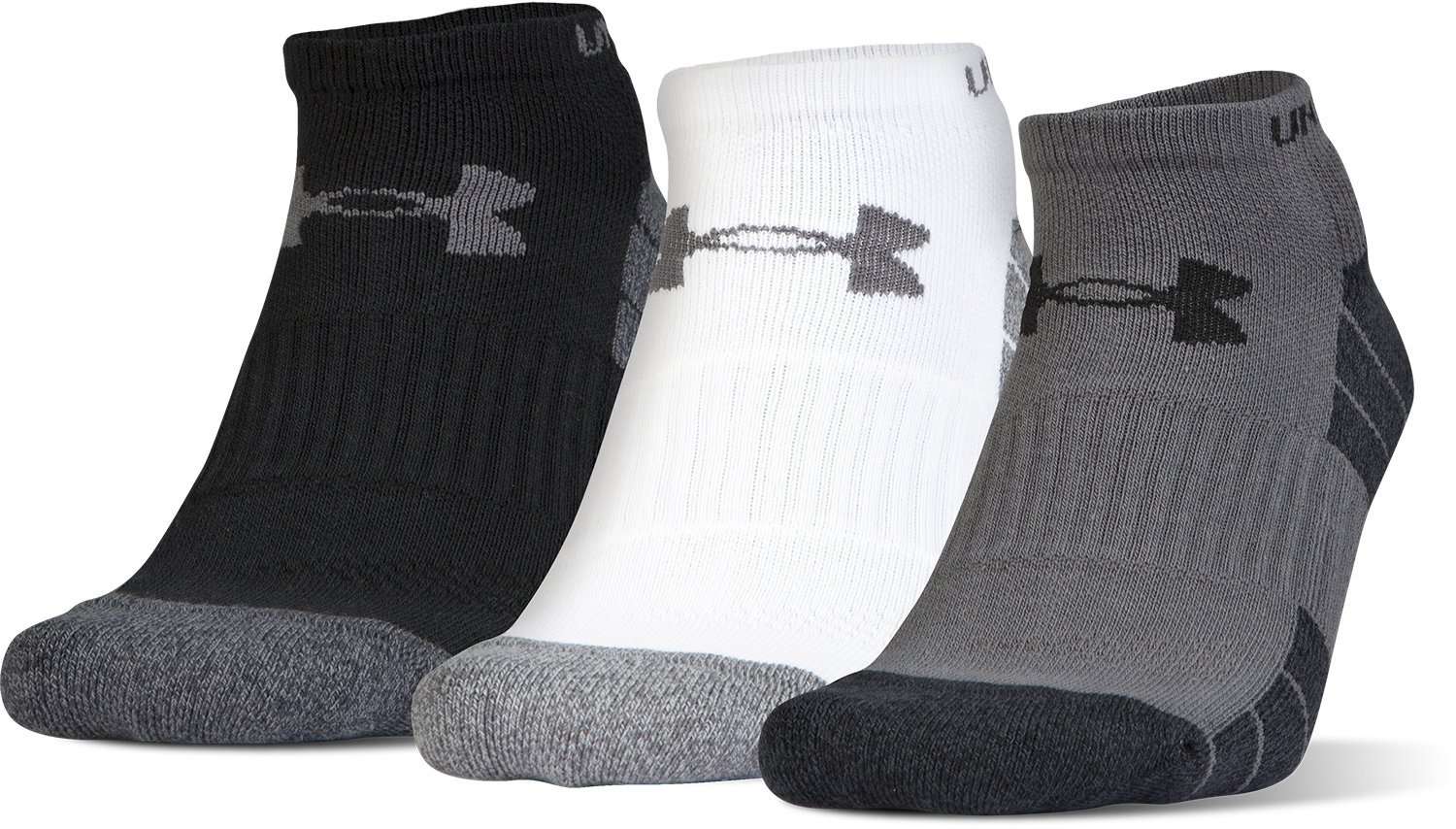 Under Armour Men's Elevated Performance No Show (3 Pack), Graphite Marl/Assorted, Large by Under Armour