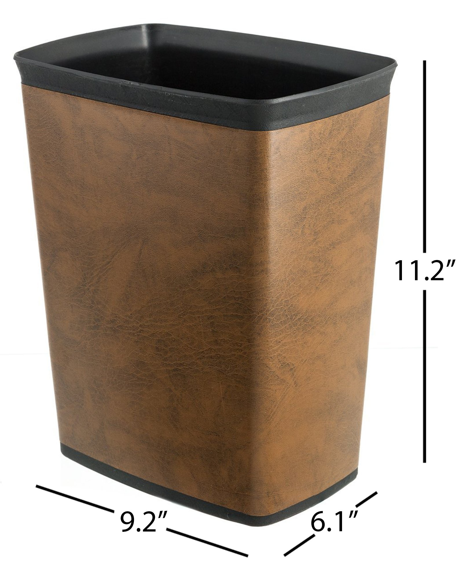 Bennett ''Plasbin'' Trash Can, Small Office Plastic Wastebasket, Leatherette Finish Modern Home Décor, Rectangle Shape (Brown)