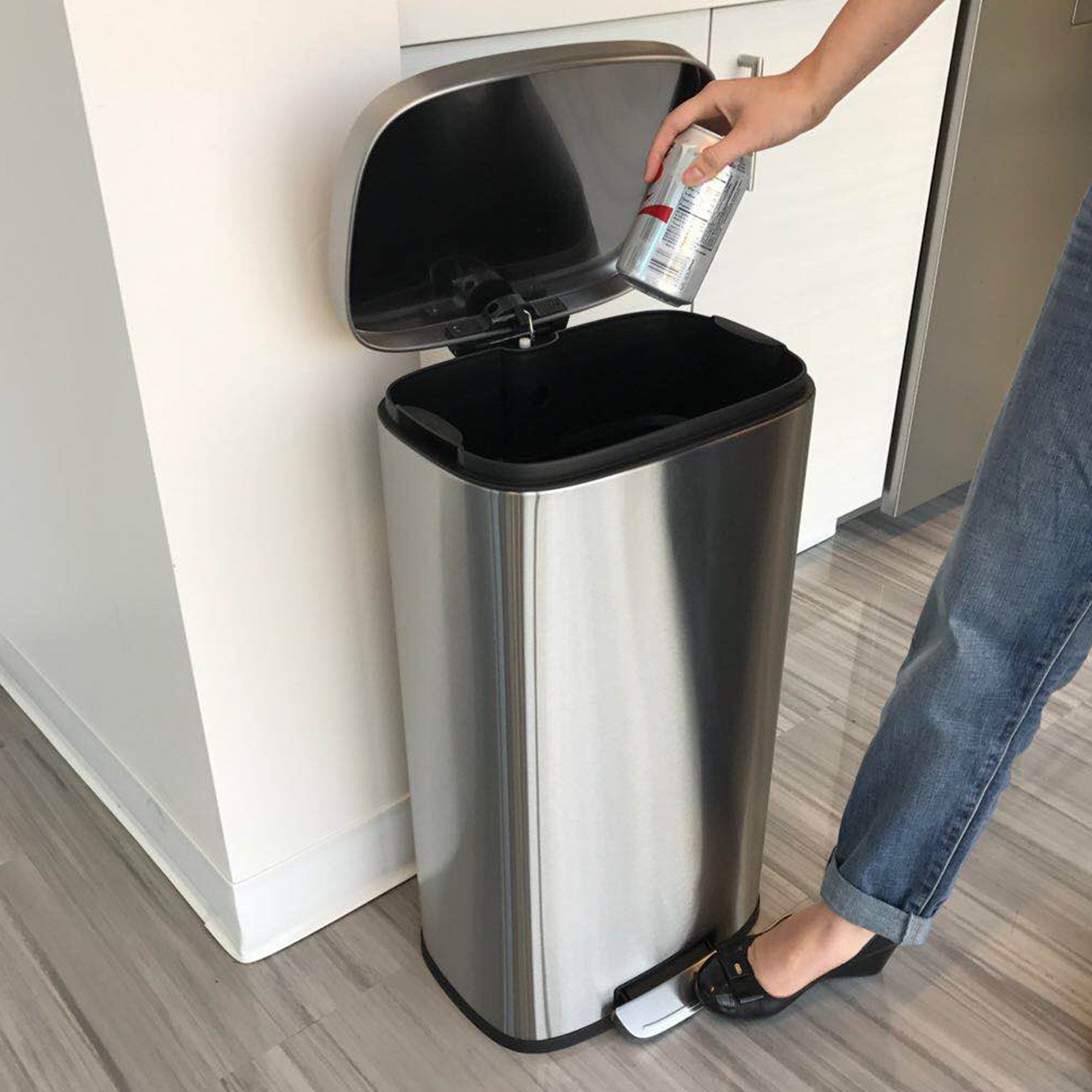 iTouchless SoftStep 8 Gallon Stainless Steel Step Trash Can, 30 Liter Pedal Kitchen Trash Can Perfect for Office, Home and Kitchen by iTouchless (Image #5)