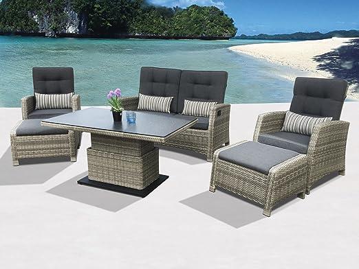 Siena Garden Larissa - Conjunto de muebles de jardín (ratán sintético, mesa regulable en altura y respaldo ajustable por separado, incluye cojines impermeables y dos taburetes): Amazon.es: Hogar
