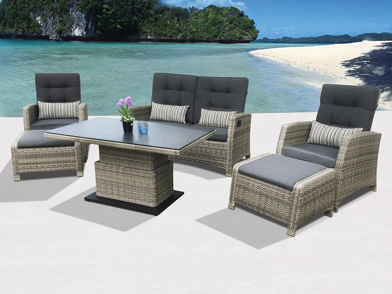 Siena Garden Extra hohe Dining Poly Rattan Lounge Larissa mit höhenverstellbarem Tisch und separat Verstellbarer Rückenlehne inkl. wasserabweisenden Kissen und Zwei Hockern