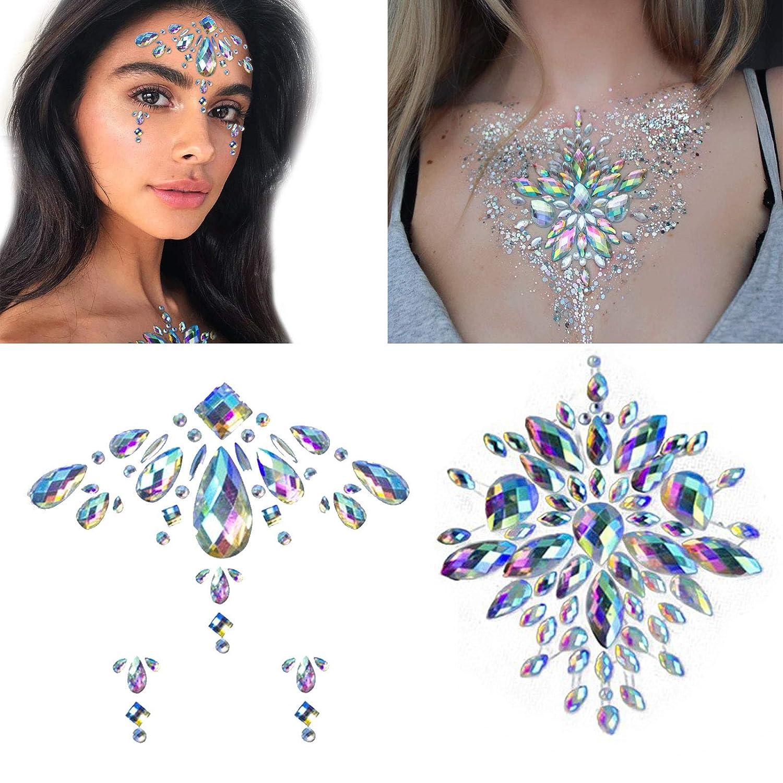 2Sheets Face Body Jewels Tattoo Glitter Crystal Tattoos Festival Rhinestone Nail Temporary Stickers