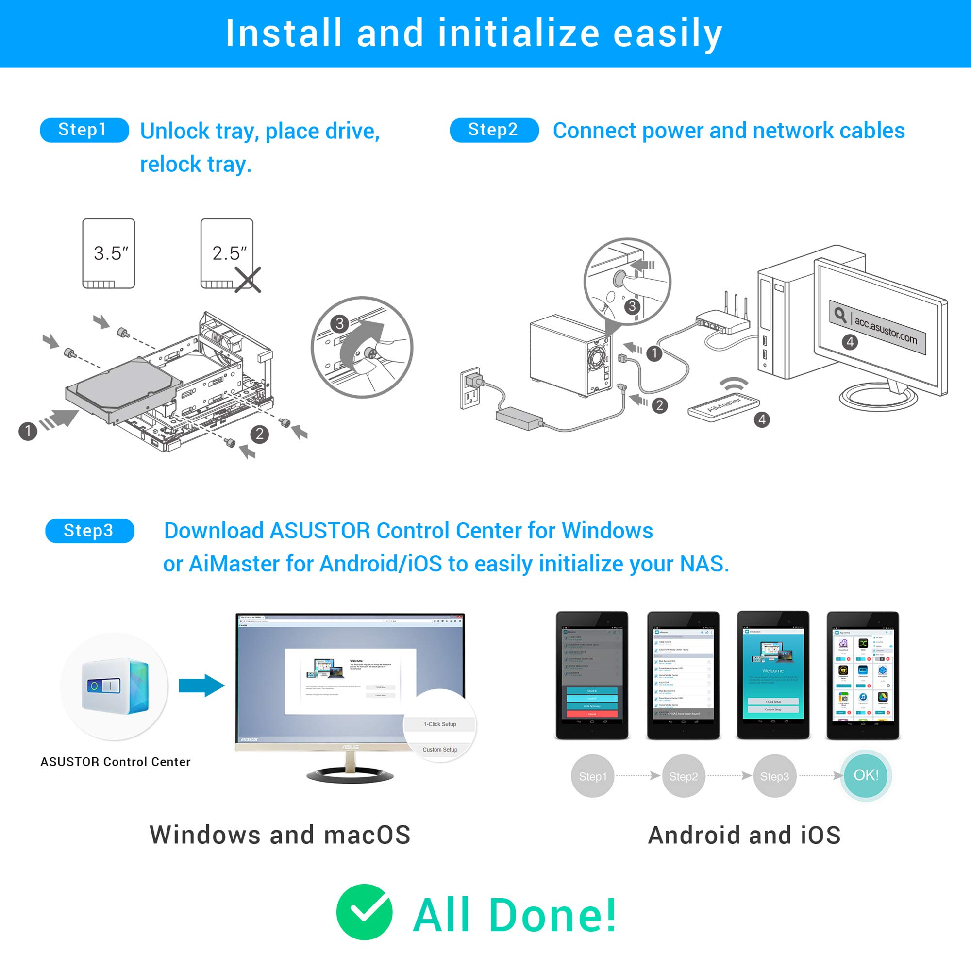 Asustor AS1002T v2   Network Attached Storage + Free exFAT License   1.6GHz Dual-Core, 512MB RAM   Personal Private Cloud   Home Media Server (2 Bay Diskless NAS) by Asustor (Image #5)