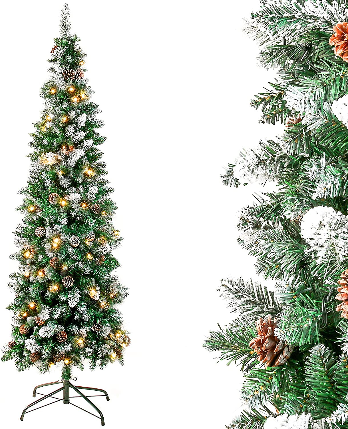 Homde Pencil Christmas Tree 6 Foot Pre-Lit Artificial Christmas Tree with Flocked Snow Pine Cone 170 Warm White Lights Holiday Decor