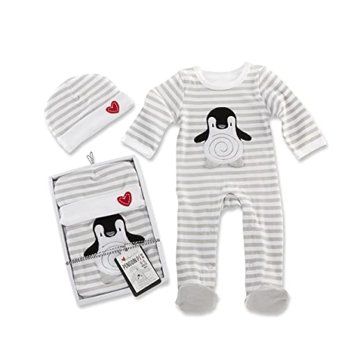 Baby Aspen Penguin PJ Gift Set, Black/White/Multi, 0-6 Months