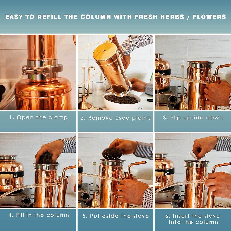 Flavored Water /& Oil Extractor Maker Machine Essential Oil Distiller 2L Basic Kit Steam Distillation Equipment for Making Essential Oil Copper Pro Basic Kit Hydrosol Distiller Set