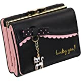 ETIAL Womens Faux Leather Cute Kitty Bowknot Small Wallet Coin Card Holder
