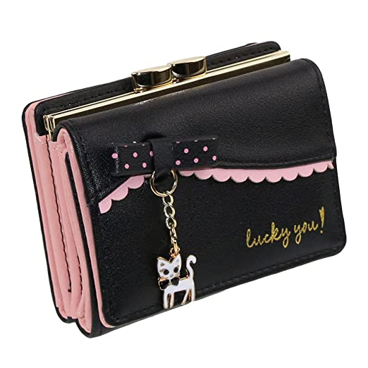 ETIAL Womens Faux Leather Cute Kitty Bowknot Small Wallet Coin Card Holder  Black 98bb40b9dd088