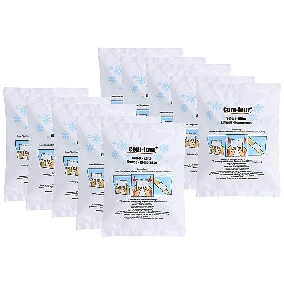 com-four® Compresor frío instantáneo desechable 5X para Primeros Auxilios para Uso Externo, 21x15 cm (05 Piezas - Set 2)