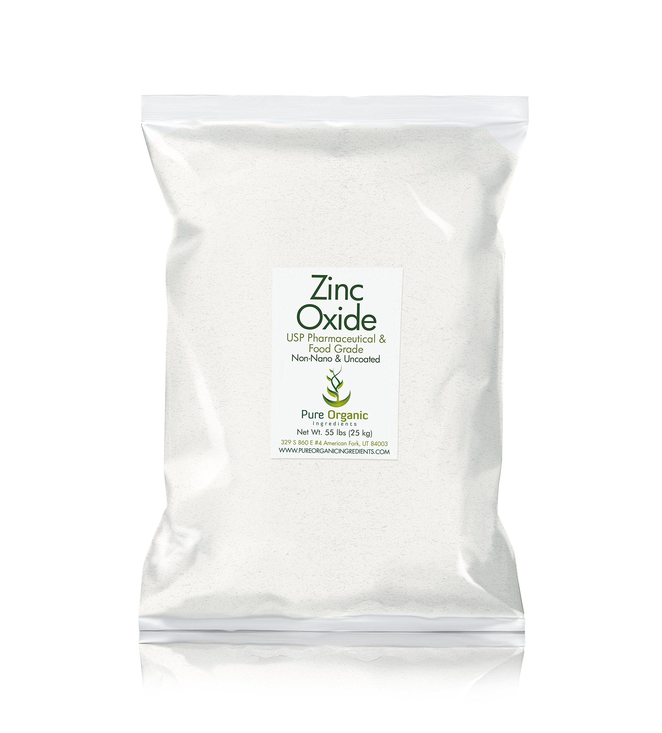 Zinc Oxide Powder (55 lb.) by Pure Organic Ingredients, Eco-Friendly Packaging, Non-Nano, Uncoated, Food & USP Grade, For Sunscreen, Diaper Rash Ointment, Burn Relief & Chapped Lips Remedy