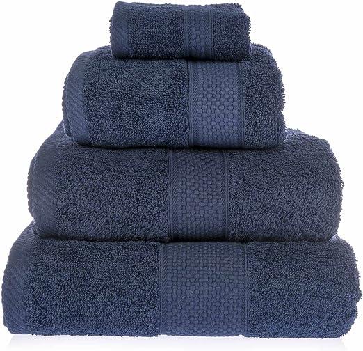 Homescapes Lote de 4 Toallas 100/% algod/ón Turco Cara, Manos, Ducha y ba/ño Grande Color Azul Marino
