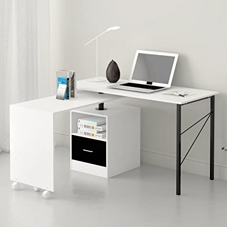 Mueble de escritorio en forma de L, ampliable, de cerezo de color ...