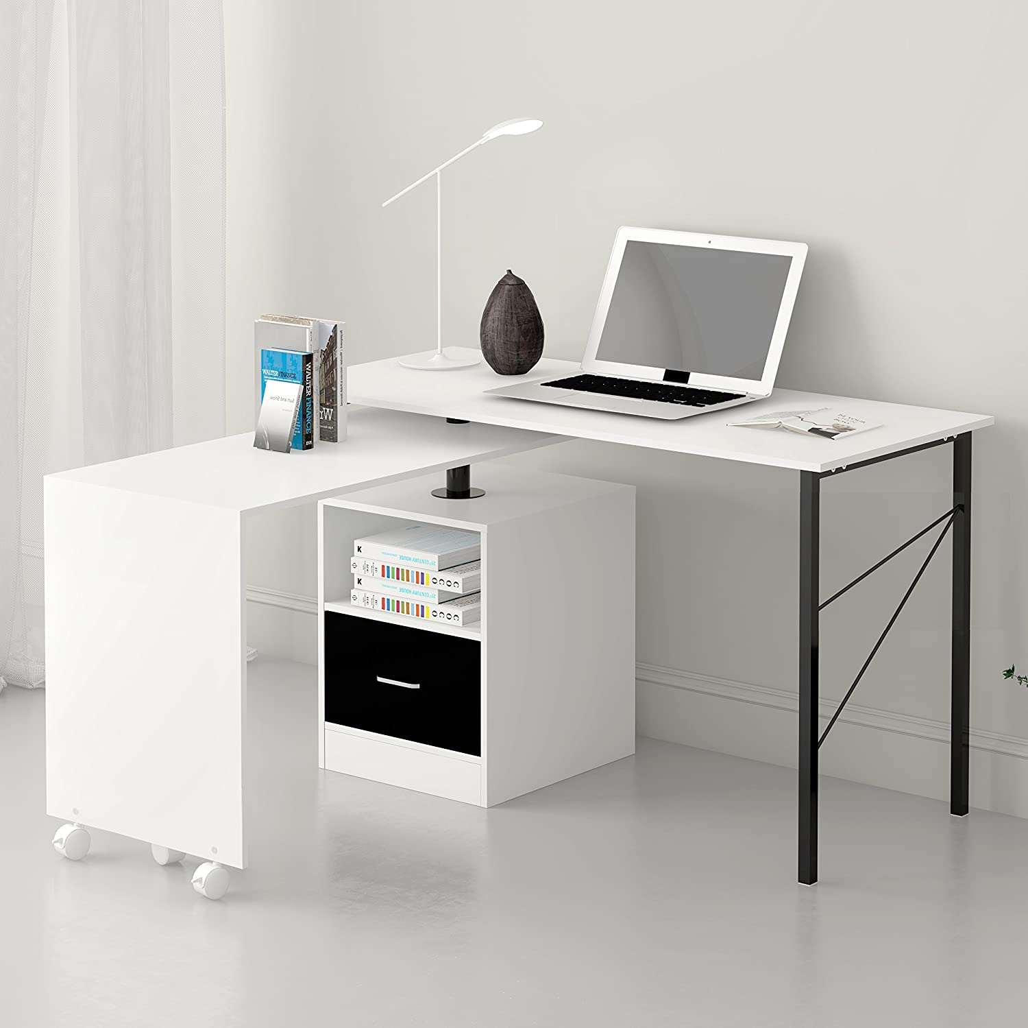 Cherry Tree Furniture L-Shaped Expandable Black Computer Workstation Corner Desk with Storage in Black Colour