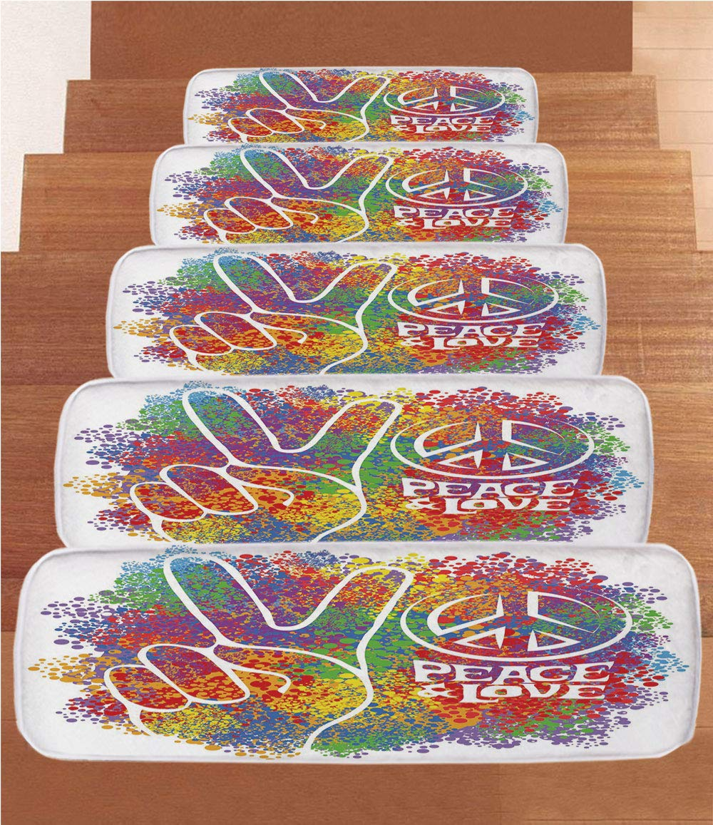 Amazon com: iPrint Coral Fleece Stair Treads,70s Party