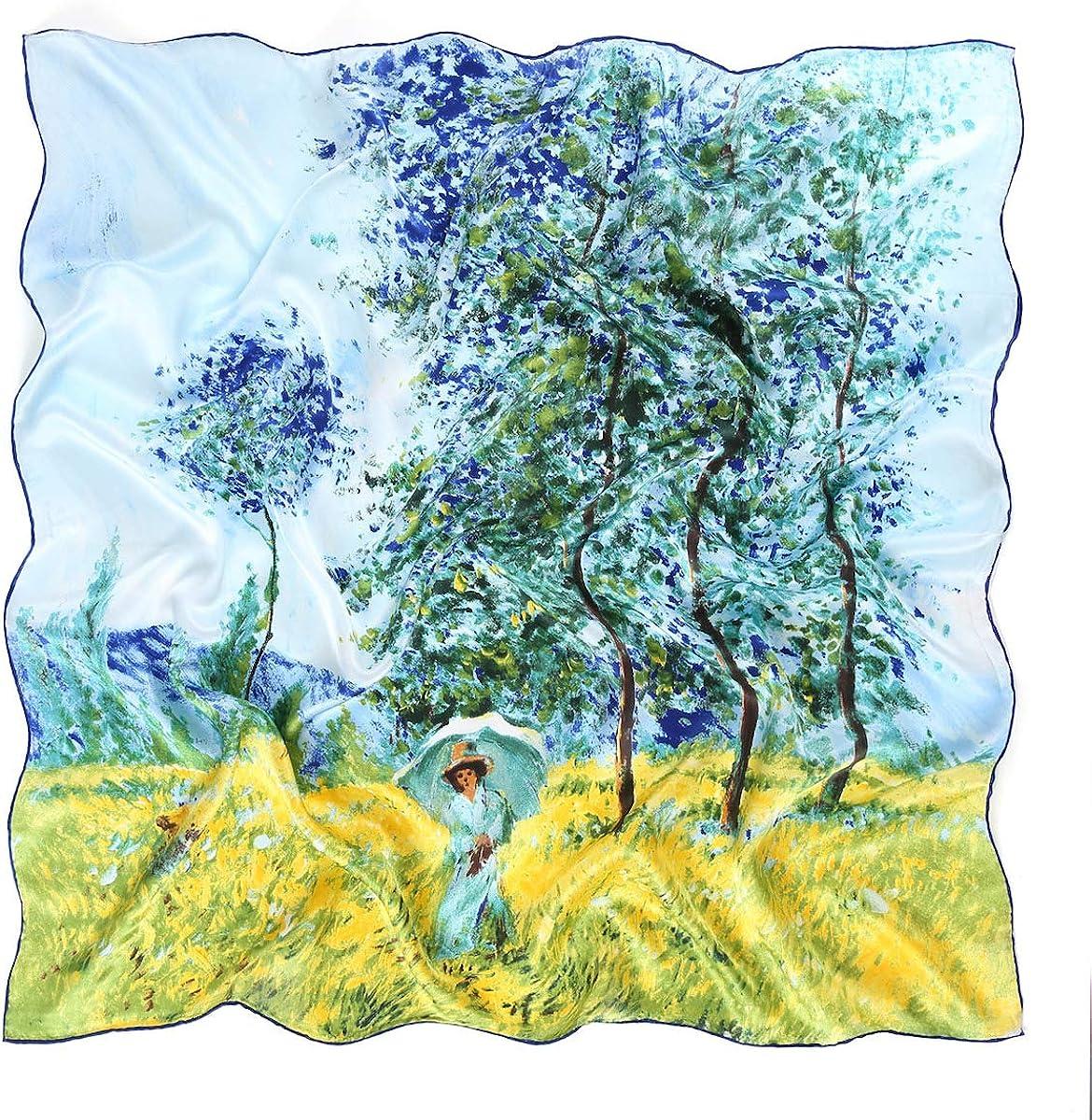Prettystern 90cm Foulard di Seta Quadrato XL Con Pittura Impressionismo Claude Monet