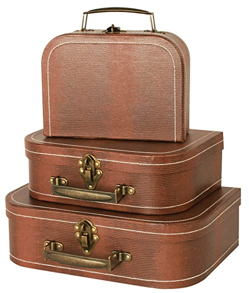 Wald Imports Brown Paperboard Decorative Storage Paperboard Suitcases, ...