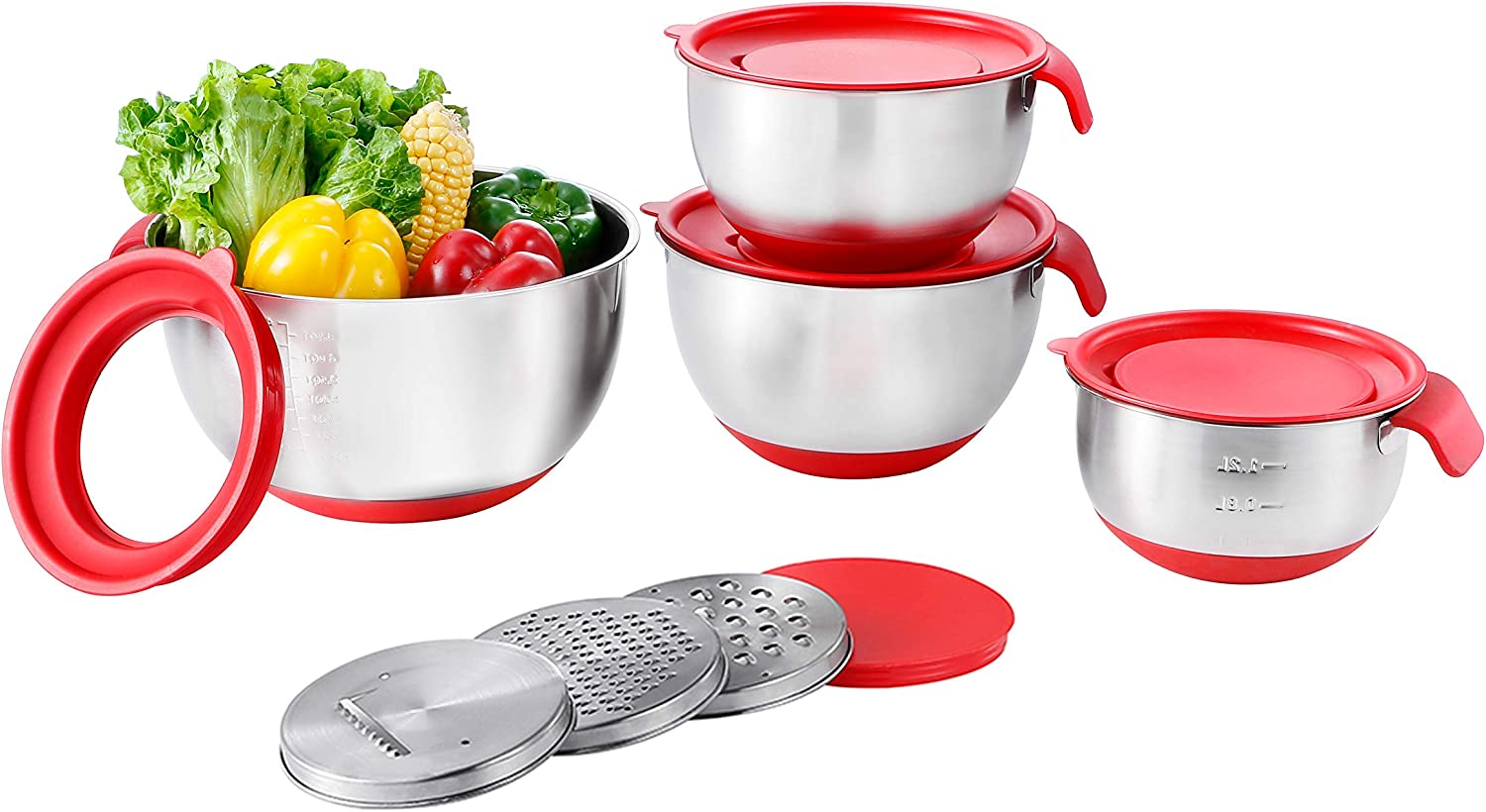 Stainless Steel Mixing Bowls with Airtight Lids, Serving Bowl Set of 4 for Kitchen Cooking Baking Food Storage with 3 Graters,Measurement marks and non-slip bottoms,Size 1.5/2/3/5QT