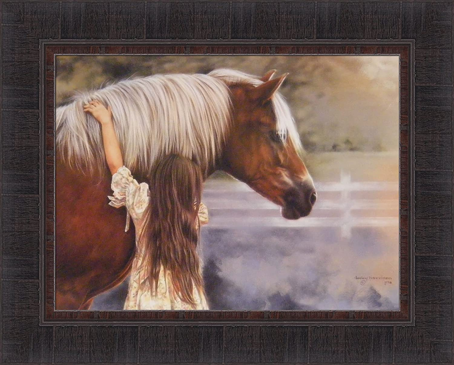 THE BOOSTER CLUB by Lesley Harrison Horse Children Girls 17x21 FRAMED ART PRINT
