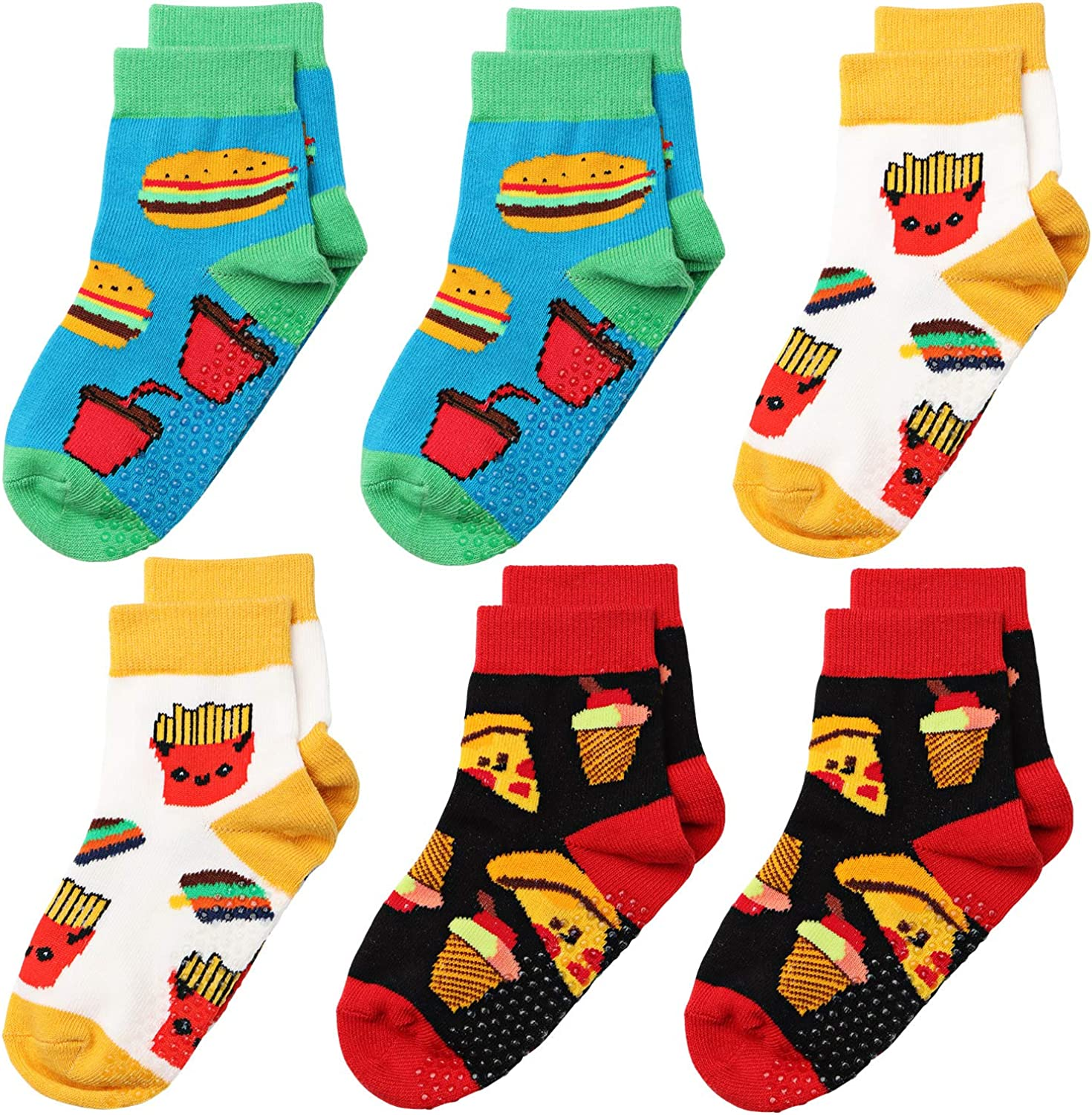SQUANCHY 6 Pairs Infant Toddler Cotton Socks Non Skid for Kids Baby Boys Girls Grips Crew Cartoon Novelty 1-3/3-5/5-7