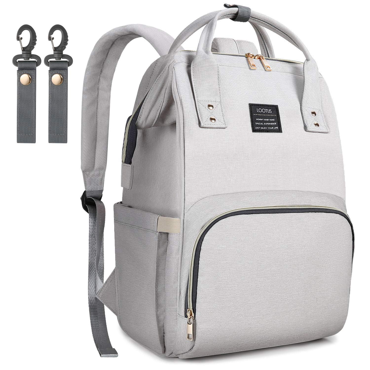 Diaper Bag Backpack LOOTUS Large Multi-Function Waterproof Easy-to-Clean Larger Capacity Travel Backpack Nappy Bags, Baby Diaper Bag with Stroller Straps Insulated Pockets, Stylish Light Gray B-DB-01