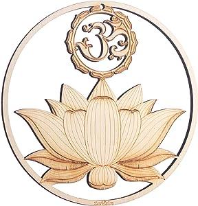 "ZenVizion 5.31"" Sacred Lotus Wall Art, OM Symbol, Sacred Geometry Home Decor, Meditation Yoga Hanging Artwork, Laser Cut Wooden Wall Sculpture, Wealth, Prosperity Abundance, Gift"