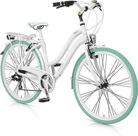 MBM Vintage - Bicicleta de Paseo para Mujer de 21 velocidades, Cuadro de Aluminio hidroformado Talla 46, Frenos V-Brake, Ruedas de 28