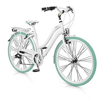 MBM Vintage - Bicicleta de Paseo para Mujer de 21 velocidades, Cuadro de Aluminio hidroformado