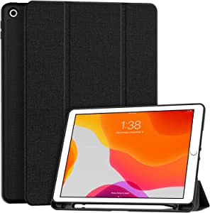"""Soke New iPad 7th Generation 10.2"""" Case 2019 with Pencil Holder, Premium Shockproof Case with Soft TPU Back Cover and Auto Sleep/Wake Function for Apple iPad 7th Gen 10.2 Inch, Black"""