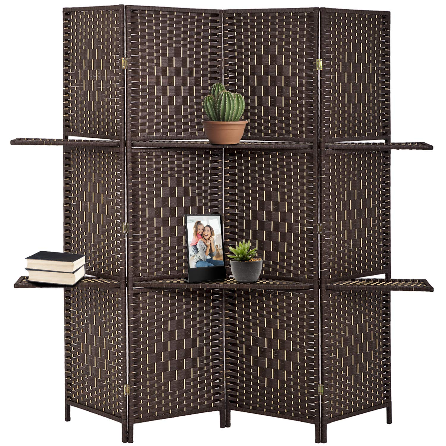 FDW Wooden Folding Portable Partition 4 Panel Screen Room Divider, Brown by FDW