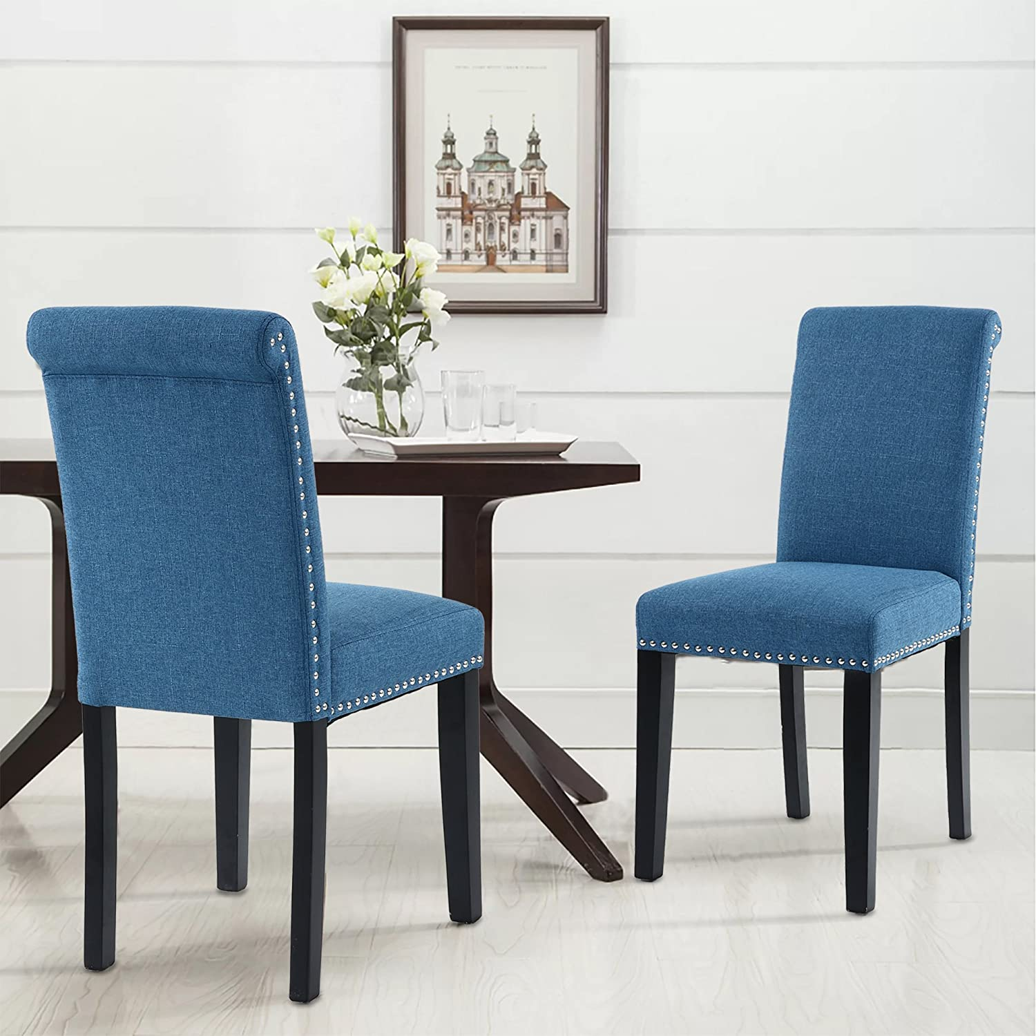 Amazon.com: LSSPAID Dining Chair Set of 2 Fabric Padded Side Chair ...