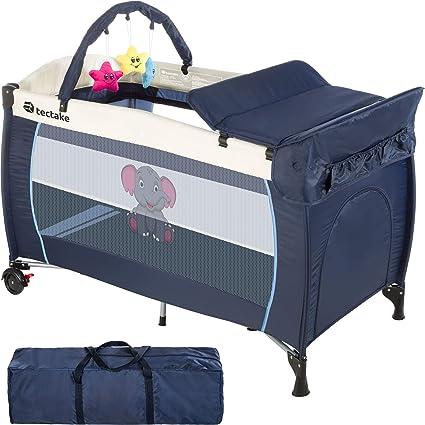TecTake Cuna infantil de viaje portátil altura ajustable con acolchado para bebé - disponible en diferentes colores - (Azul | No. 402201): Amazon.es: Oficina y papelería