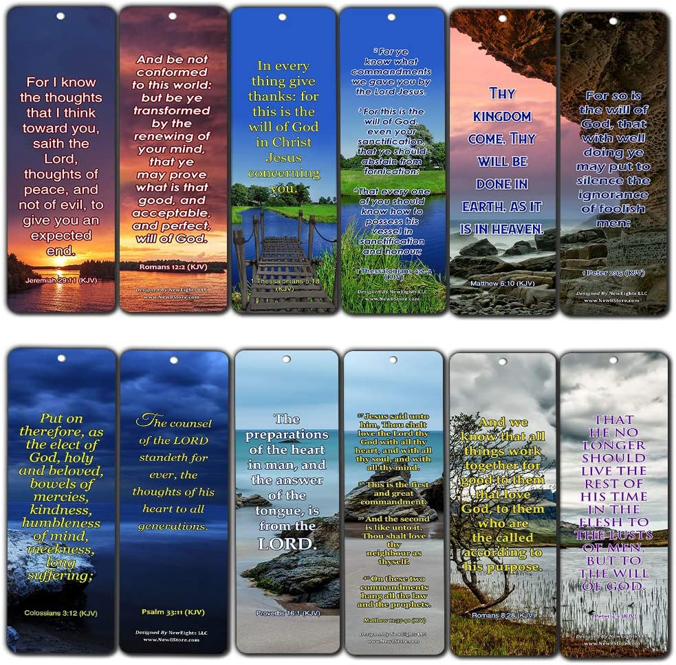 30-Pack Bible Verses About God/'s Will - Great Bible Text Compilation That is Handy and Easy to Bring Along with KJV Religious Bookmarks