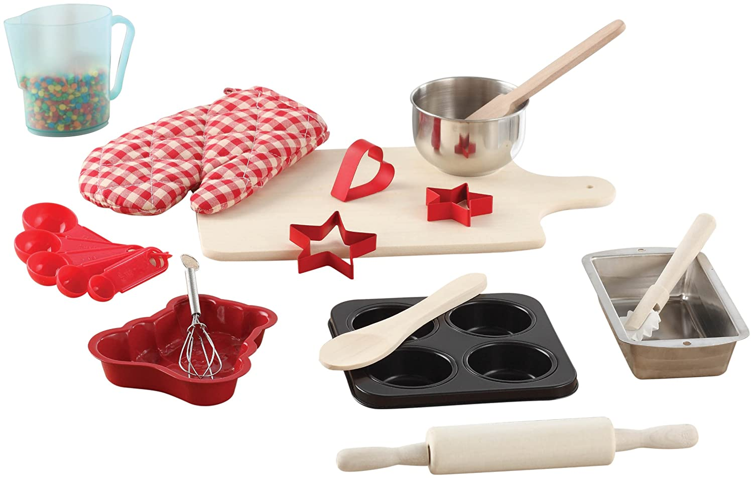 kids cooking set baking 20 piece kit cutting board rolling. Black Bedroom Furniture Sets. Home Design Ideas