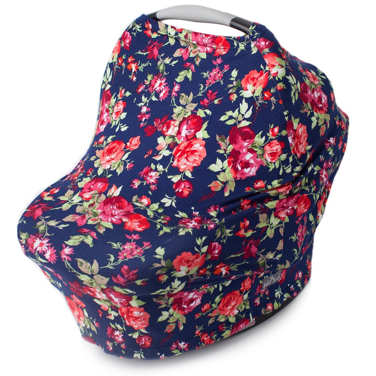 Nursing Cover, Car Seat Canopy, Shopping Cart, High Chair, Stroller and Carseat Covers for Girls- Best Stretchy Infinity Scarf and Shawl- Multi Use Breastfeeding Cover Up- Vintage Navy Floral Print by Kids N' Such (Image #1)