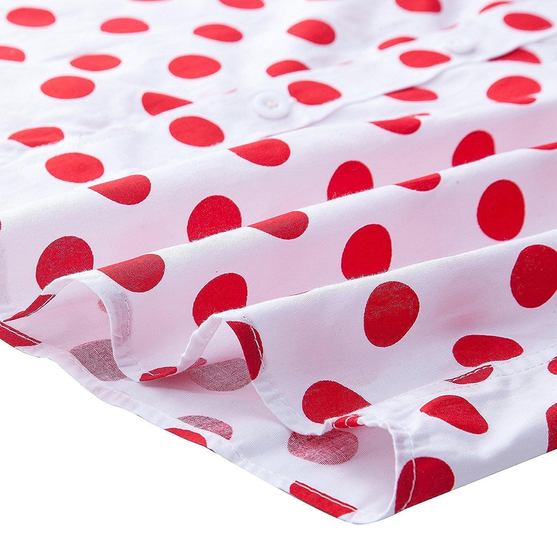 CATERTO Mens Premium Polka Dot Print Casual Shirt Short Sleeve Cotton Shirts