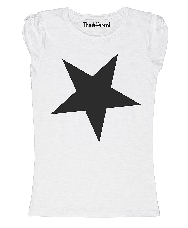 thedifferent New T-Shirt Donna Fiammata Stella Nera Fashion Idea Regalo