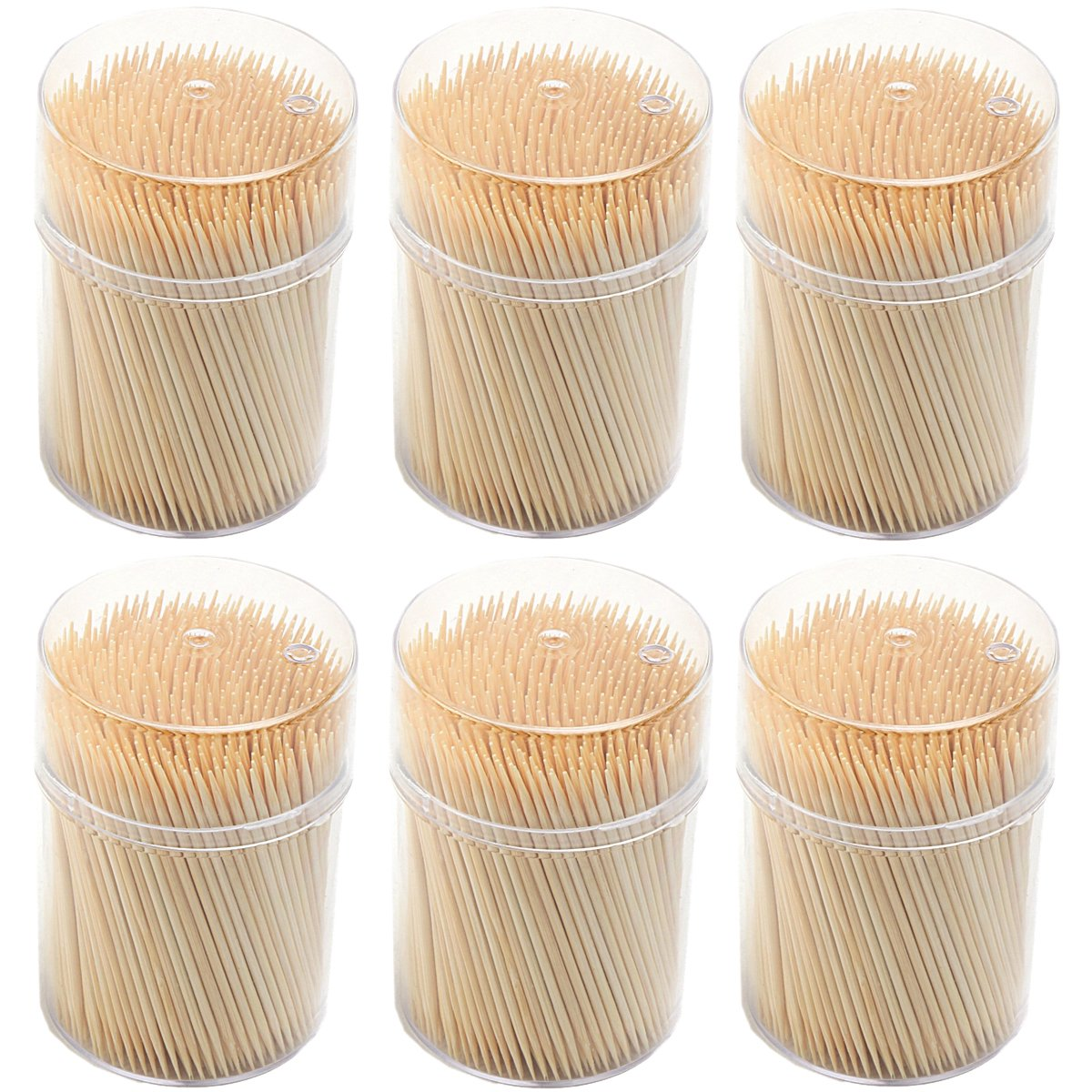 Round Wooden Toothpick 3000 Count - Double Sided Natural Splinter-Free Bamboo Wood for Safe Teeth and Gum Care - 6 Portable Dispensers with 500 Pieces Tooth Picks Per Holder 5-Star Precision