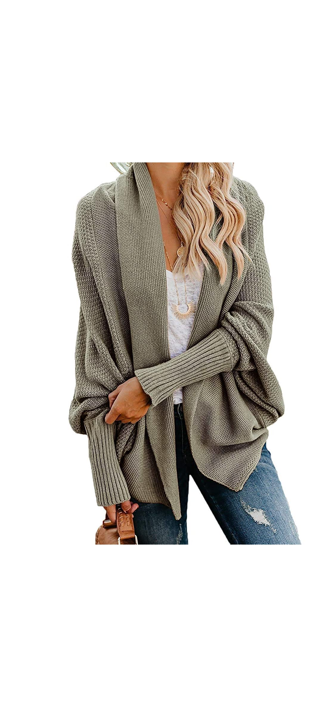 Womens Chunky Kimono Cardigan Batwing Sleeve Open Front