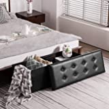 YOUDENOVA 43 Inches Folding Storage Ottoman Bench, Bed End Bench with 120L Large Storage Space, Hallway Footrest Window…