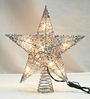 northlight 12 lighted glittering silver star christmas tree topper clear lights